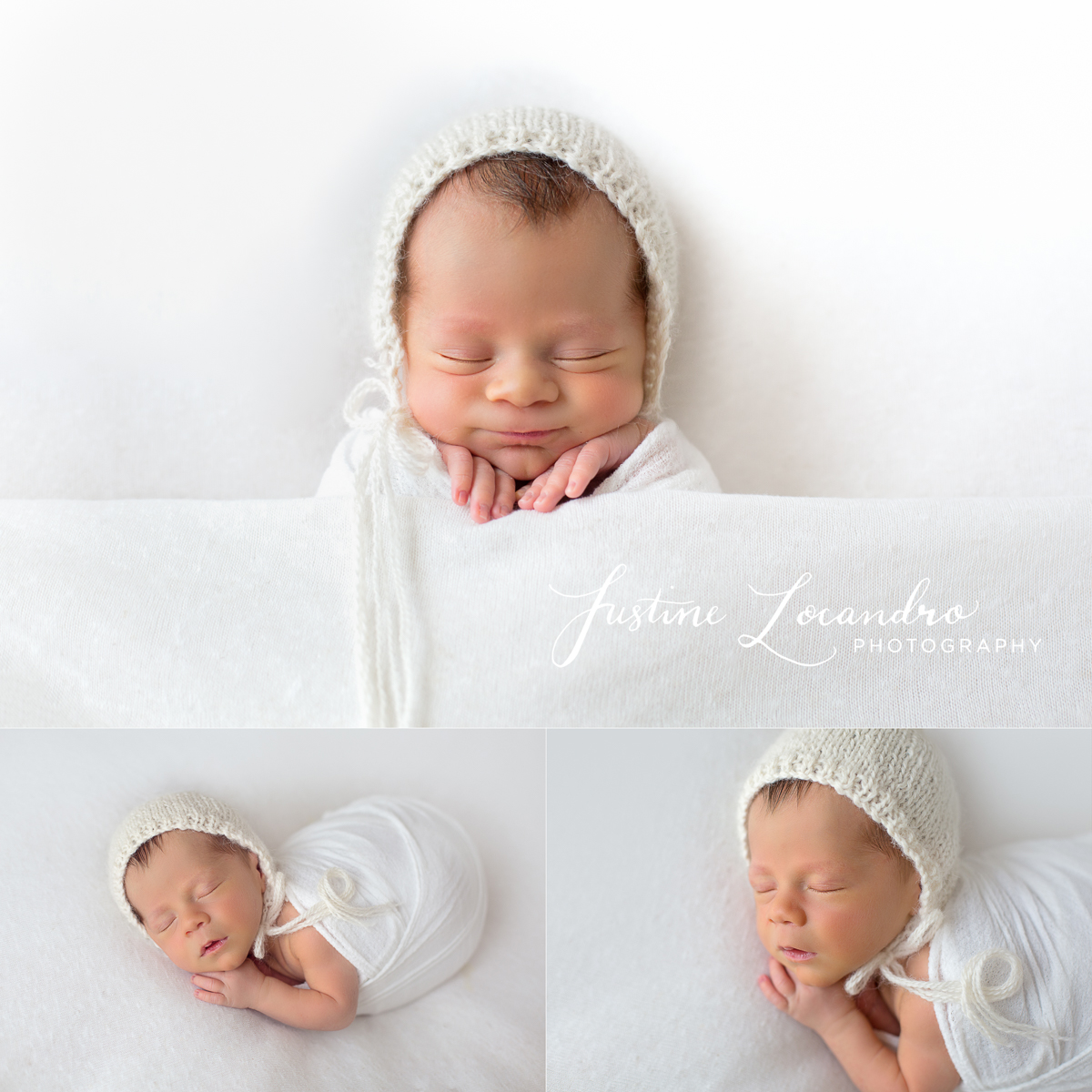 Photograph of newborn baby boy with white neutral background