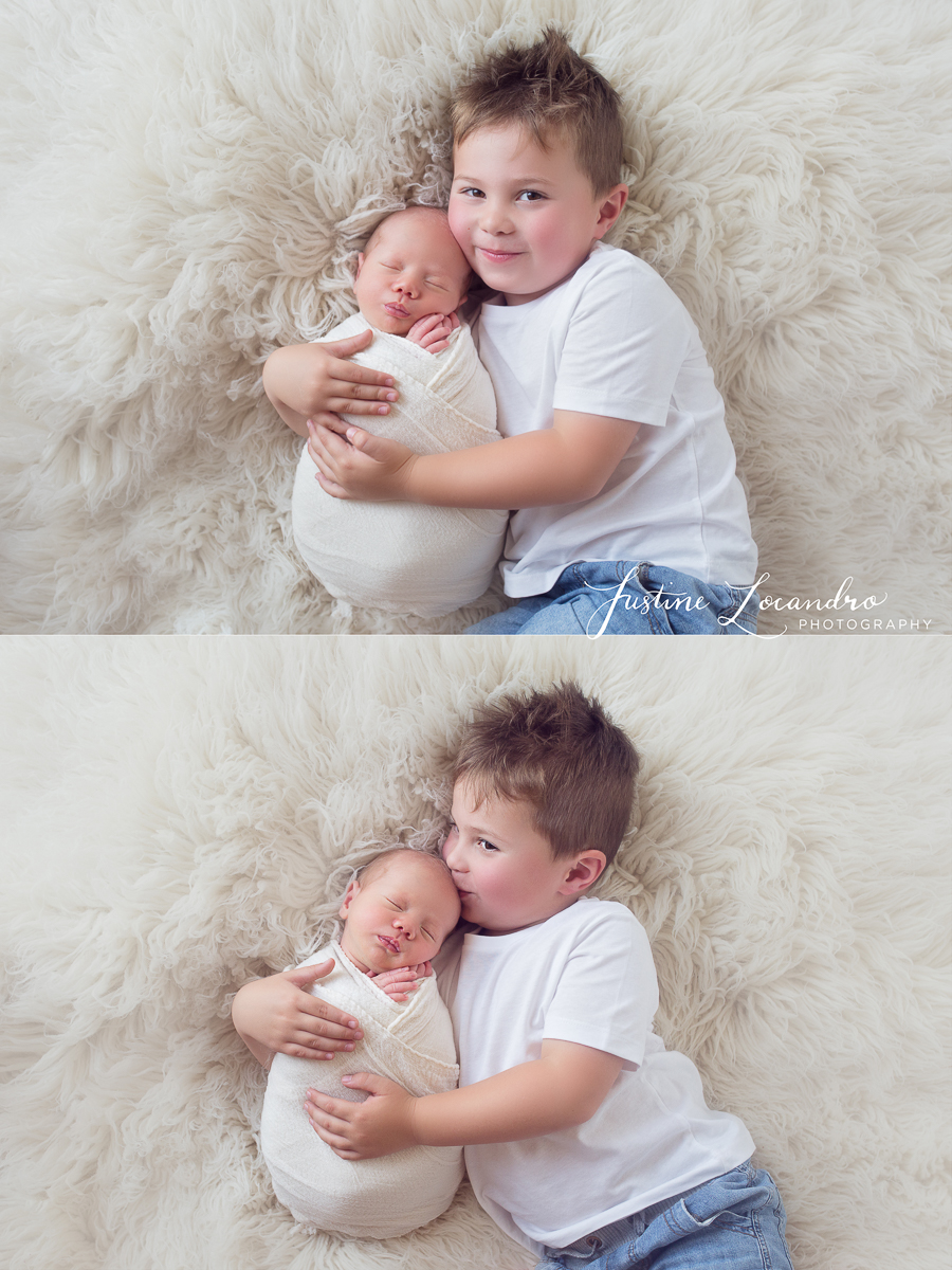 photograph of newborn baby boy with sibling
