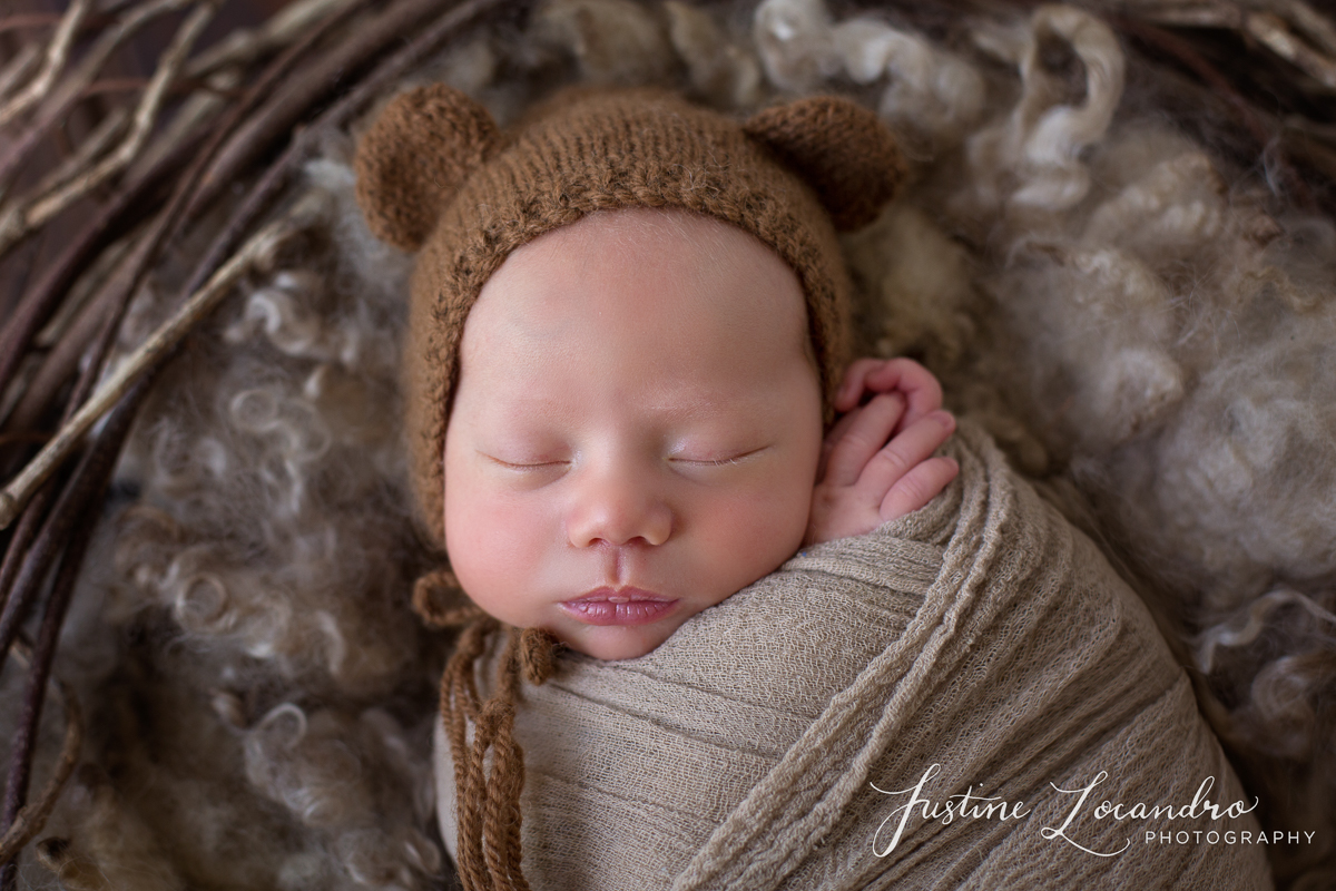 Ballarat newborn photography baby with brown bear bonnet