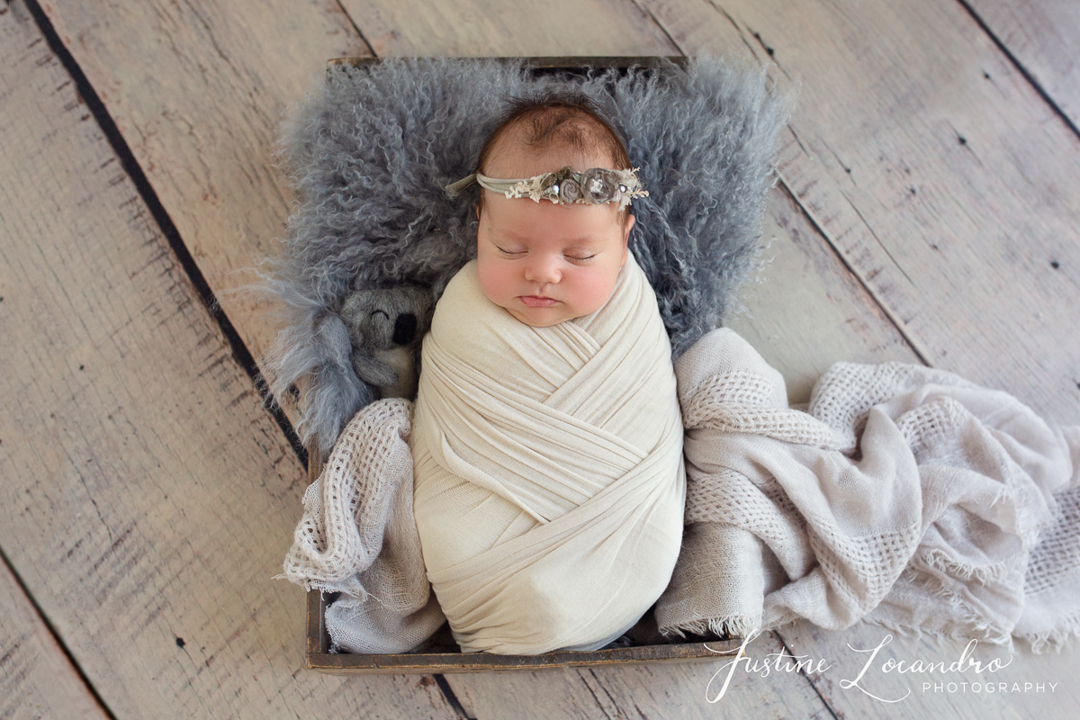 six week baby girl photographed in greys. Taken by Ballarat newborn photographer Justine Locandro Photography